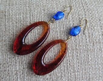tortoise hoops, blue and brown earrings, long earrings, statement earrings, tortoise brown jewelry, hoop dangles, large hoop earrings, gift