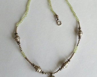 Peridot Beaded Necklace in Sterling Silver
