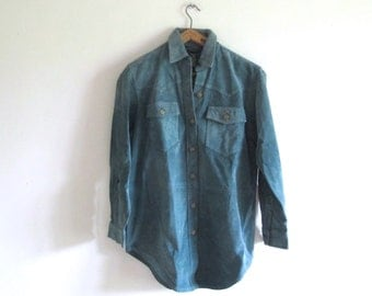 RALPH LAUREN Suede leather turquoise shirt Women S/M