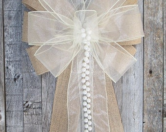 Ivory Sheer Rustic Burlap Bow, Optional Pearls, Organza Wedding Pew Bow, Party, Bridal Baby Shower, Custom Made To Order