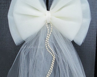 Small Tulle Bow with Pearls, Ivory or White, Wedding Church Pew Aisle, Party, New Mom Baby Shower, Custom Made To Order