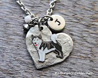 Alaskan Malamute Necklace, Malamute Necklace, Malamute Jewelry, Malamute Mom, Heart Dog Jewelry, Malamute Sympathy, Malamute Gift