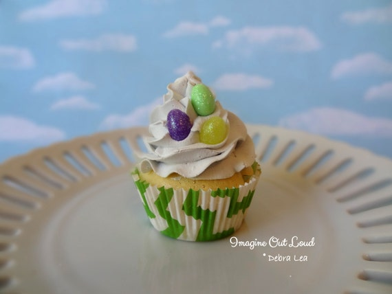 Fake Cupcake Handmade Easter Spring Fake Vanilla Cupcake with Jelly Beans on top Green Chevron Liner