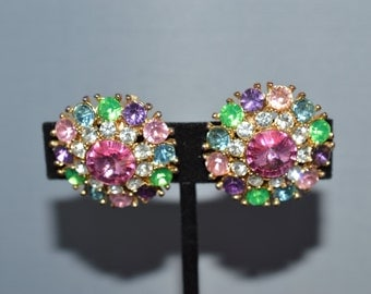Vintage Multi Color Rhinestone Clip on  Earrings  ships in 24 Hrs