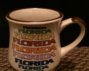 FLORIDA MUG vintage Florida vintage mug state souvenir rainbow 1970s