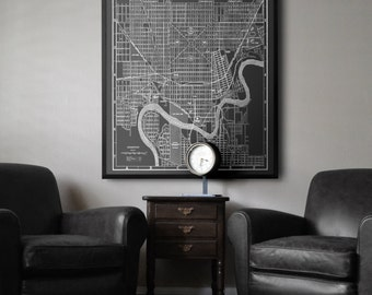 Edmonton Map : Black and white vintage Edmonton map print 1915