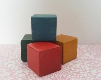 Vintage wooden blocks - Sets of 4 -nursery decor, vintage nursery, nursery decoration, play blocks, primary colors, building blocks, toys.