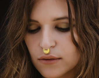 Gold Septum Ring 18g For Pierced Nose, Tribal Septum Jewelry, Moon Nose Ring, 24K Gold Plated, Septums, Nose Jewelry, Sagia