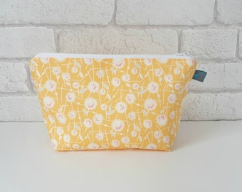 Cosmetic Bag with waterproof lining in pretty yellow floral cotton