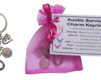 Auntie Survival Charm Keyring or bag charm - Handmade Auntie Gift for Auntie (Auntie Birthday Gift, Auntie Christmas Gift)