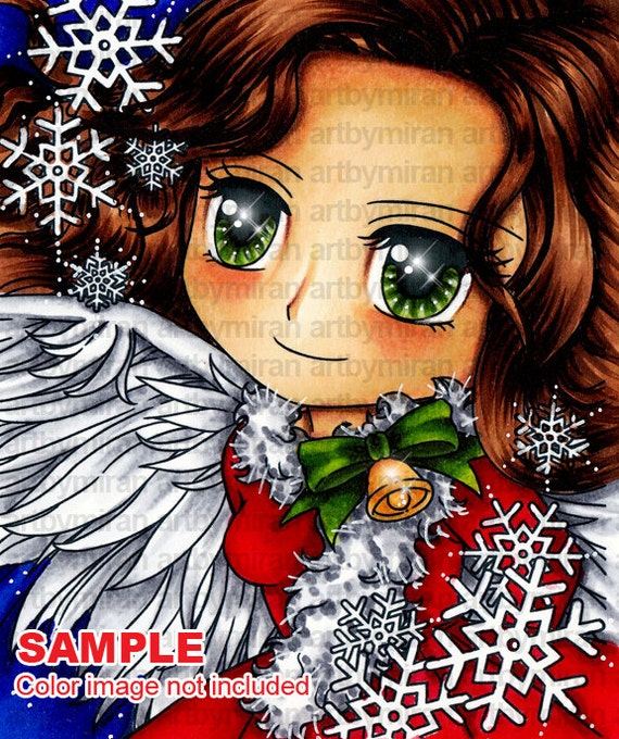 Digital Stamp - Angelic Belle (#259), Christmas Digi Stamp, Coloring page, Printable Line art for Card and Craft Supply
