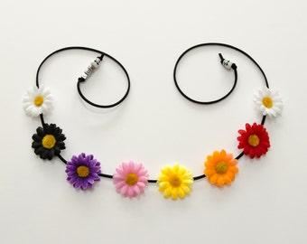 Día de los Muertos Daisy Flower Crown, Flower Headband, Floral Halo, Day of the Dead Headpiece, Day of the Dead Clothing, Halloween Headband