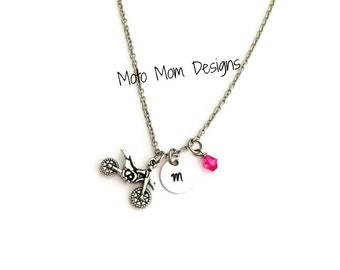 Dirt Bike Necklace - Initial Necklace - Motocross Jewelry - Dirt Bike - Racing Jewelry - Motocross - Hand stamped Jewelry - Moto Mom