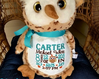 Personalized Baby Gift Personalized Stuffed Animal monogrammed Clasic Owl Embroider Buddy Birth Announcement