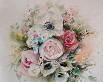 Wedding Bouquet Commission Painting, Soft Pastels Painting, Waiting list for September, MADE TO ORDER, Custom Painting, Anniversary Gift