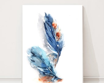 Feathers ORIGINAL Watercolor Painting, Blue Feathers Painting, Watercolour Art, Modern Illustration Art