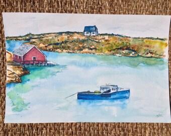 Peggy's Cove Watercolor Painting - Fishing Village Painting - Original Watercolor Seascape Peggy's Cove Wharf - Nova Scotia Artwork