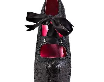 Viva Bordello Sin City Black Glitter Stilettos REDUCED PRICE