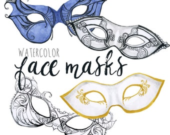 Watercolor Face Masks, Masquerade Clipart, Ball clipart, Halloween clipart, Halloween mask clip art, face mask art, Anonymous clip art