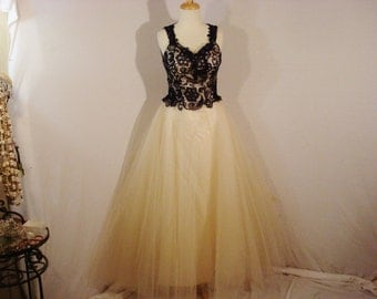 Yellow Tulle Prom Party Dress Blue Lace Gown Open Back Long Full S