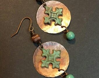 Cross Earrings, Hammered Copper and Cross Earrings, Boho Earrings, Copper and Cross Earrings, Mixed Metal Earrings