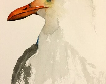 watercolor bird painting bird art original watercolor Seagull