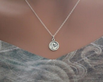 Sterling Silver Water Element Charm Necklace, Ocean Wave Necklace, Water Necklace, Silver Wave Element Necklace, Wave Necklace, STYLE #A464