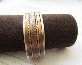 Vintage married metals minimalist  copper brass silver cuff  bracelet boho tribal man's jewelry