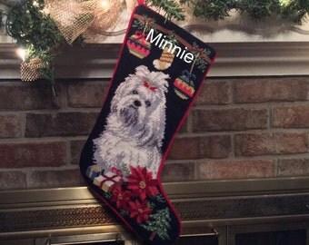 Maltese Dog Stocking, Christmas stocking, Dog stocking, Maltese Personalized Christmas stockings, Maltese needlepoint Christmas stocking