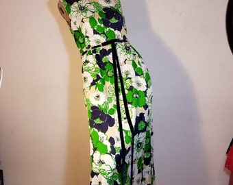 FREE  SHIPPING  1950 Floral Maxi Gown