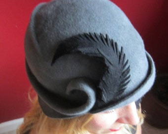 Custom - The Seabright - Hand-blocked freeform women's cloche hat in fur felt.