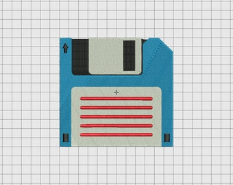 Floppy Disk Embroidery Design in 3x3 4x4 5x5 and 6x6 Sizes