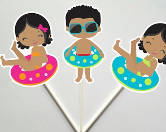 Pool Party Cupcake Toppers, Swim Party Cupcake Toppers, Swim Birthday, Beach Party Cupcake Toppers (CTOP-57171159P)