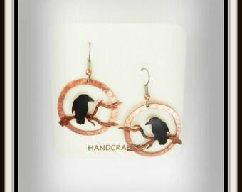 crow earrings, raven earrings, crow jewelry, goth crow earrings, rook earrings, gift under 50, gift for her, corvus, corvid, hammered copper