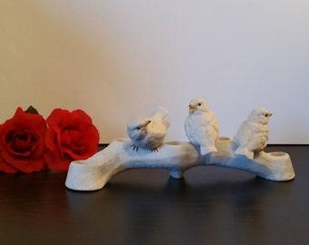 Reserved*Lenox Birds Candle Holder, Vintage Bisque Fine Porcelain White Bird Candle Holder, Bird Candle Holder, Lenox Candle Holder