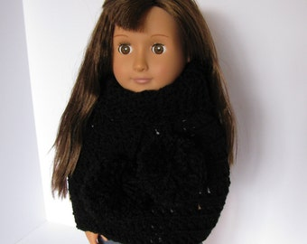 "Pom pom poncho. 18"" doll.  Hand crocheted.  Doll Poncho.  Winter. Accessories.  Crocheted Poncho.  Fits American Girl Doll."