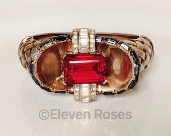 Vintage 1940's Mazer Jewels of Fantasy Deco Rhinestone Basket Weave Hinged Bangle Bracelet