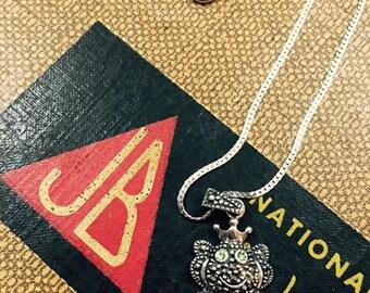 Vintage Sterling Silver Frog Prince Charm Necklace