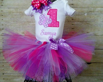 1st Birthday Butterfly Tutu With Matching Hair Bow, Hot Pink, Purple, and Lavender
