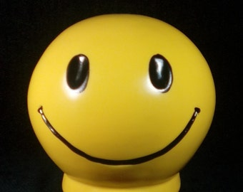 Vintage 1972 Vinyl Plastic Smiley Face Bank, Roy Inc, Smiley Face Coin Bank, Smiley Bank, Vintage Smiley Bank, Piggy Bank, Hipster Bank