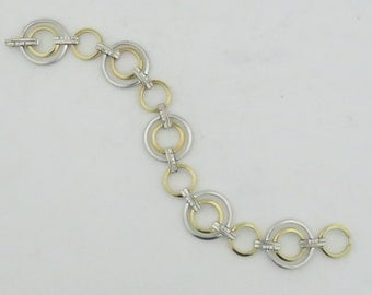 Vintage Estate Sleek Modern Design 14 kt Gold 2 Tone Diamond Bracelet .