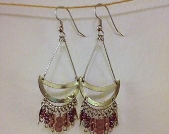 purple boho dangle earrings