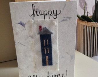 Happy New Home Cross Stitch Card