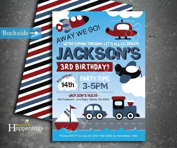 Items Similar To Airplane Birthday Invitation: Items Similar To Car And Train Birthday Invitation
