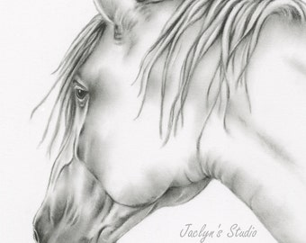 "Charcoal Horse Drawing Giclee Print 8""×10"", Horse Art, Horse Drawing, Horse Sketch, White Horse, Equine Art, Charcoal Horse, Pencil Horse"