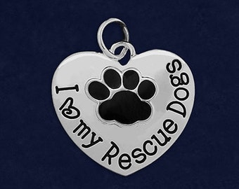 10 I Love My Rescue Dogs Charms (10 Charms) (CHARM-10S-P)