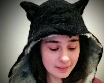Cat hat - felted animal hat with ears - festival costume - fancy dress - unique headgear