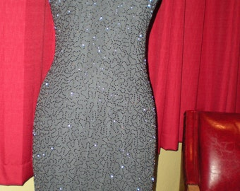 Black beaded Sequin Party Cocktail Dress Beaded design on Gray Sheath Size Small by JMD New York