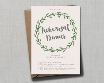 Whimsical Botanical Laurel Wreath Rehearsal Dinner Invitation // DIY PRINTABLE 5x7 // Modern Wedding, Botanical Wedding