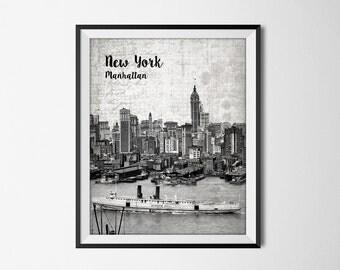 Manhattan New York Print - Vintage View Of Manhattan - New York Art Print - United States Travel Poster - New York Wall Decor